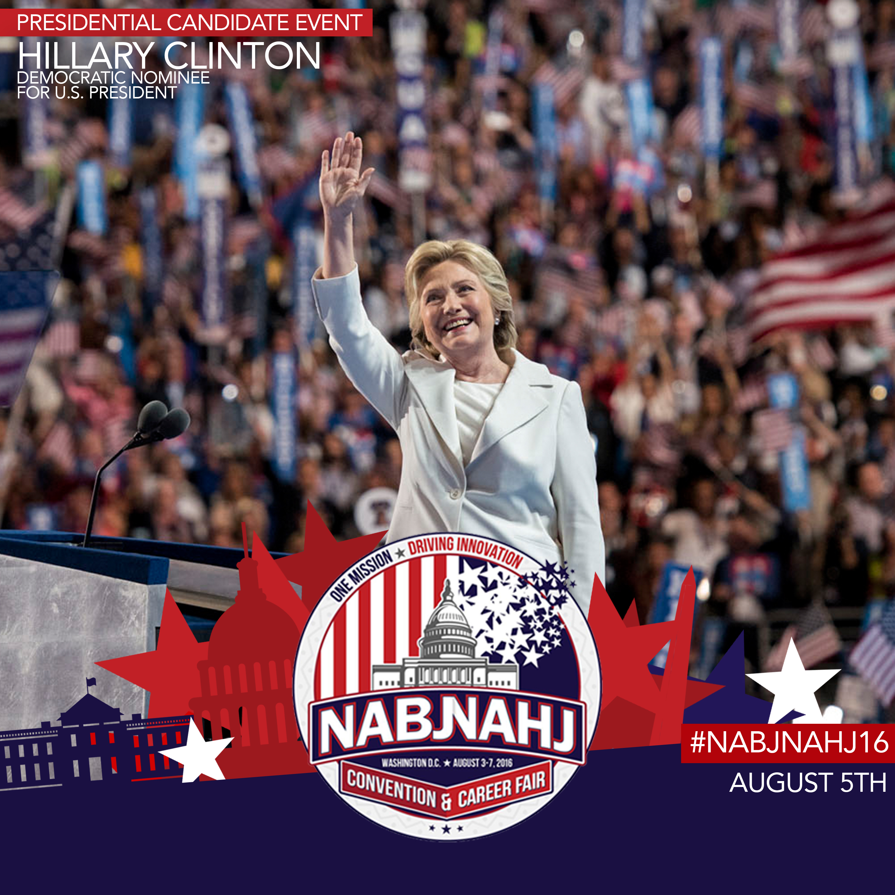 Secretary of State Hillary Clinton at the Democratic National Convention.  Clinton spoke at the #NABJNAHJ16 Convention in Washington, D.C.