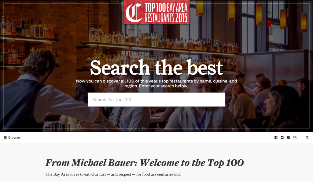SFChronicle Top 100 Restaurants 2015